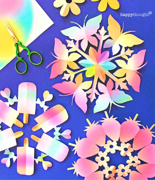 St Valentines Day flowers snowflake templates - 12 snowflake templates