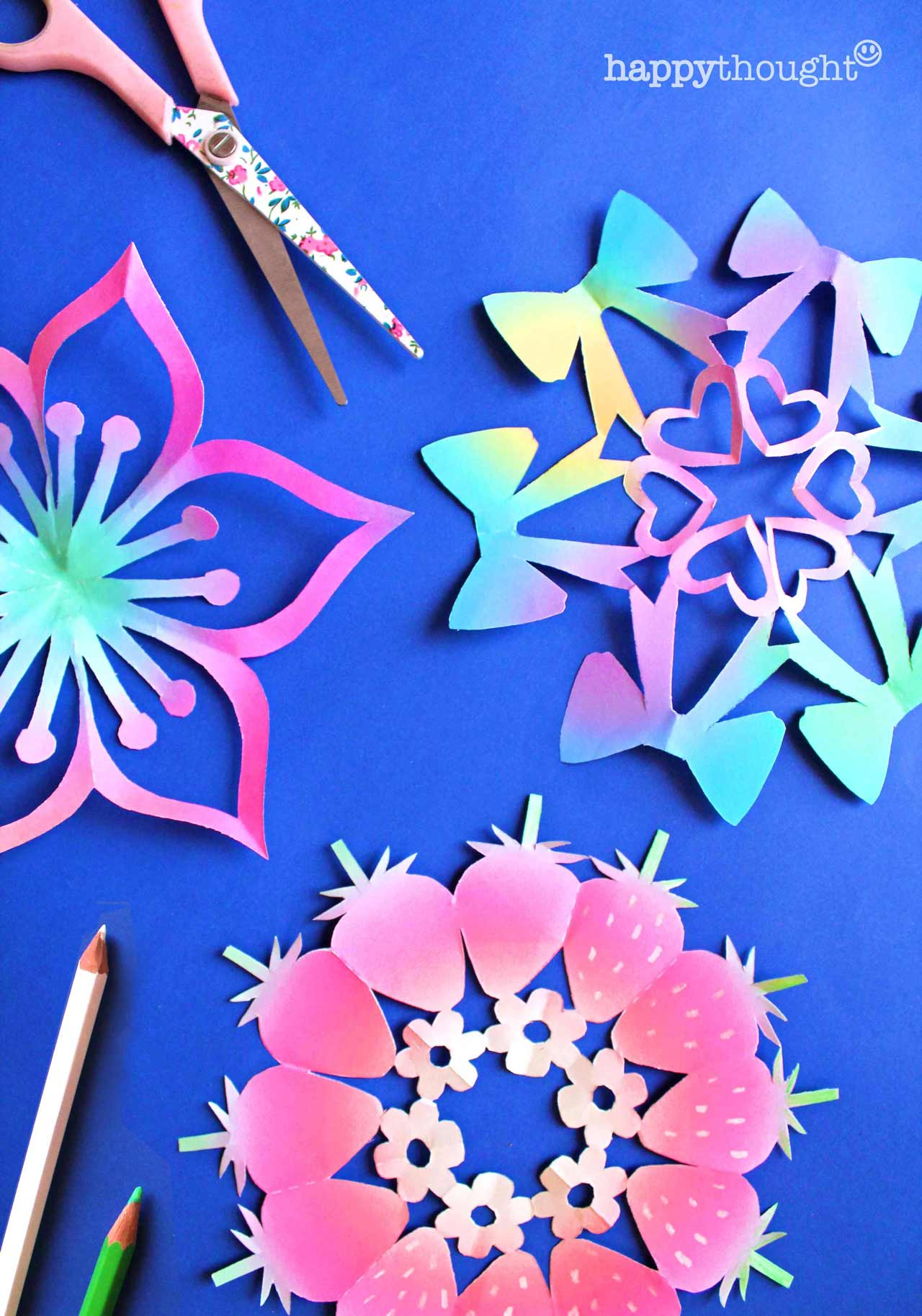 12 snowflake templates - Strawberries pastel bows flowers snowflake templates and patterns