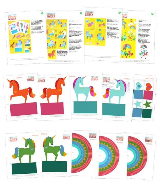 Templates and DIY photo instructions on making paper unicorn mobile