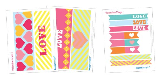 Valentines Day label and flag printable