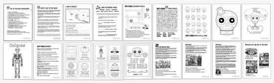 Dia de los Muertos worksheets: 18 PDF activities about Dia de los Muertos!