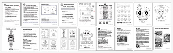 Worksheets Day Of The Dead Worksheets day of the dead pdf worksheets learn and play printable kids dia de los muertos 18 activities about muertos