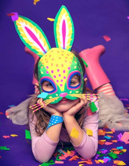 alebrije rabbit mask template to download and make - bunny mask template