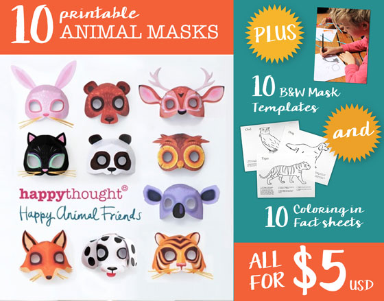 10 Animal mask crafts template: Dress up printables!