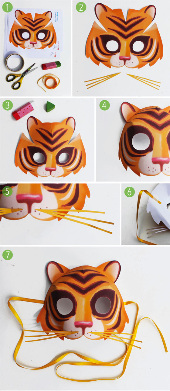Fun and simple to make DIY printable tiger mask!