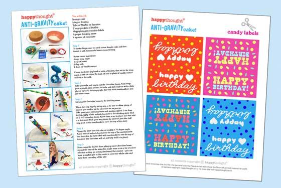 Anti gravity cake worksheets: Birthday cake ideas!
