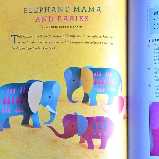 Easy projects for kids: Paper cutting elephant mama + babies!