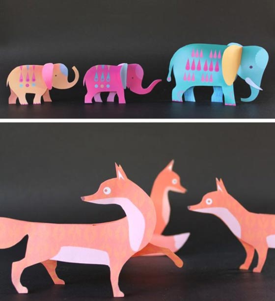 Easy and to make kids crafts: Paper foxes and elephants!