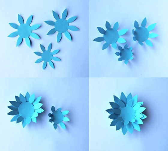 Easy fun paper crafts - Blue paper flowers - Flower templates and patterns!