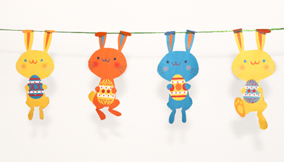 Cute bunny Easter decoration garland printable template!