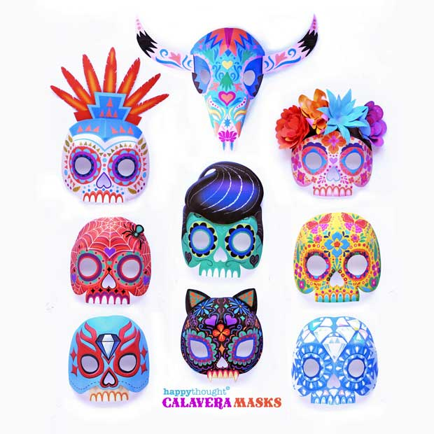 Nine easy printable DIY calavera or sugar skull masks for Day of the Dead costume ideas