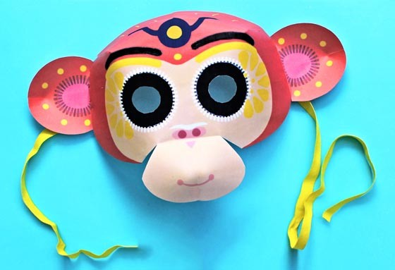 Chinese New Year Monkey mask template cutout and easy instructions