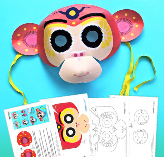 Chinese new year monkey mask free 2016 template and instructions!