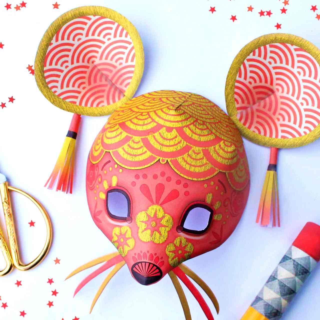 Year Of The Rat Mask Printout Paper Masks To Celebrate Chinese New Year