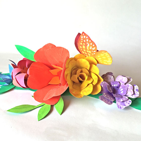 Paper flowers for a Cinco de Mayo headpiece or flower crown!