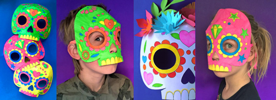 Day of the Dead coloring calavera mask printable templates! Color in your own calavera mask for el Dia de los Muertos!
