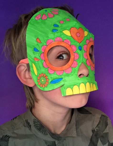 Easy and fun color in calavera mask template for class!!