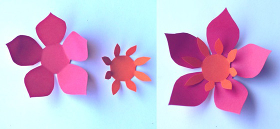 How to assemble and orange and pink paper flower