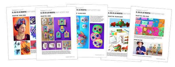 Craft worksheets for Day of the Dead activities, El dia de los Muertos PDF craft printables!