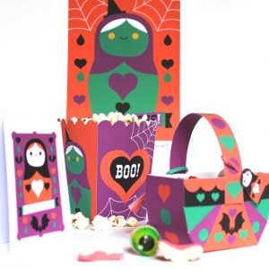 Cute Halloween invites popcorn boxes baskets cutouts