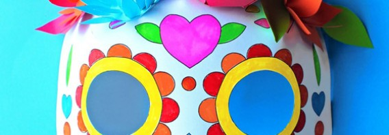 Color in calavera masks activity