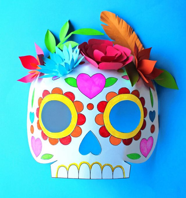 Color in calavera masks activity