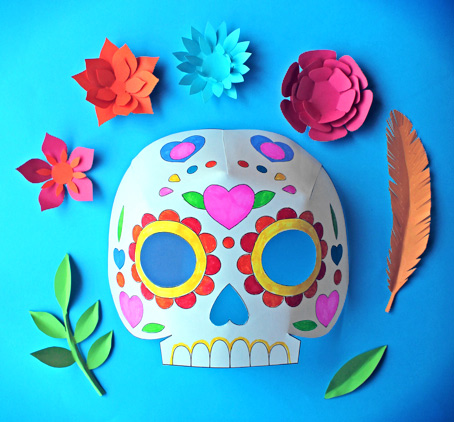 Day of the dead party ideas color in calavera masks activity for Day of the dead skull mask template