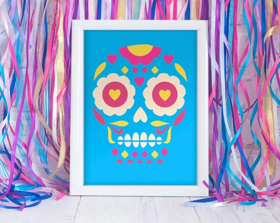 El dia de los muertos or day of the dead calavera framed print