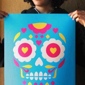 Day of the Dead calavera skull printed on Giclee art paper
