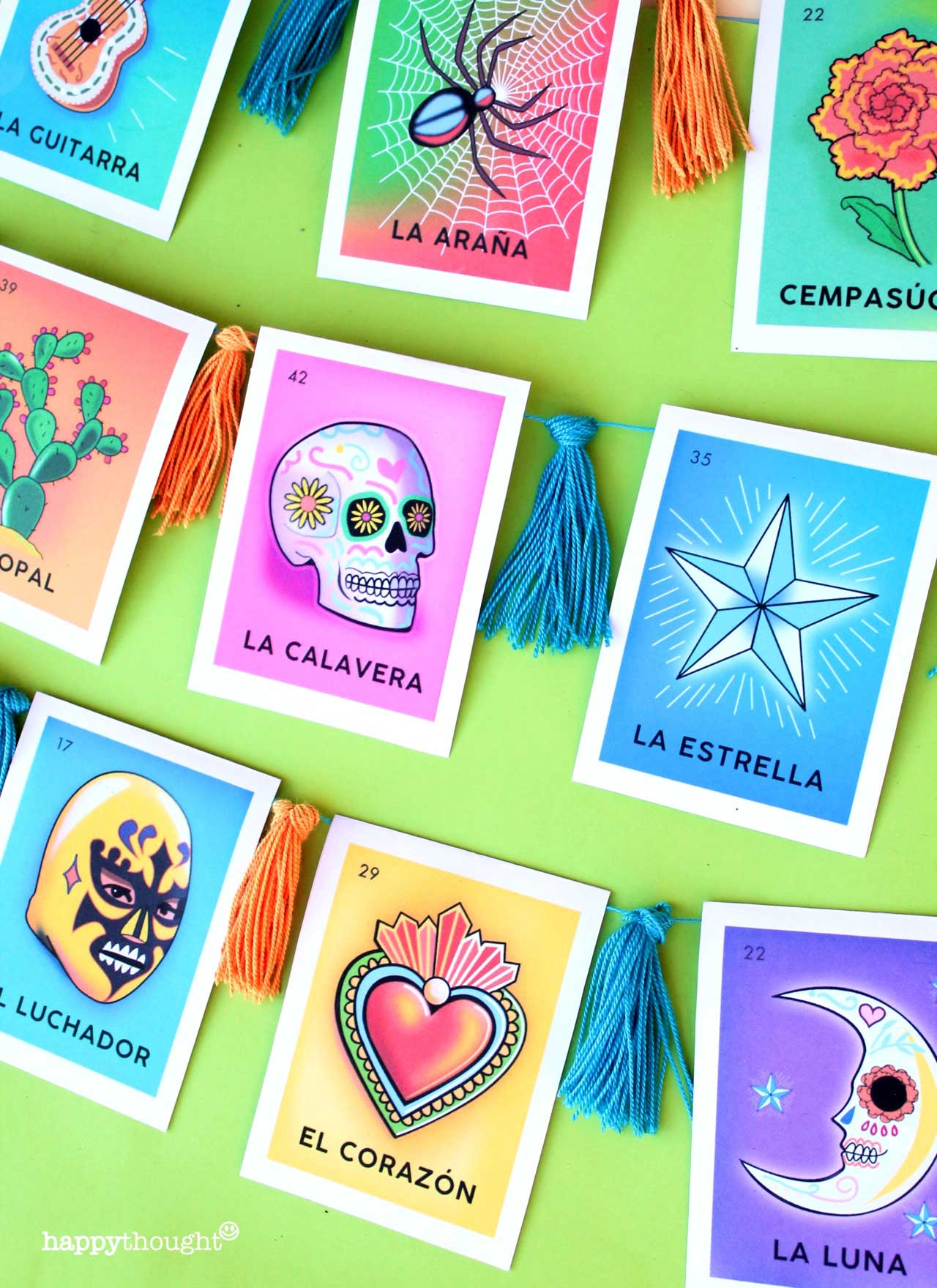 Day of the Dead loteria garland decoration for the home or class