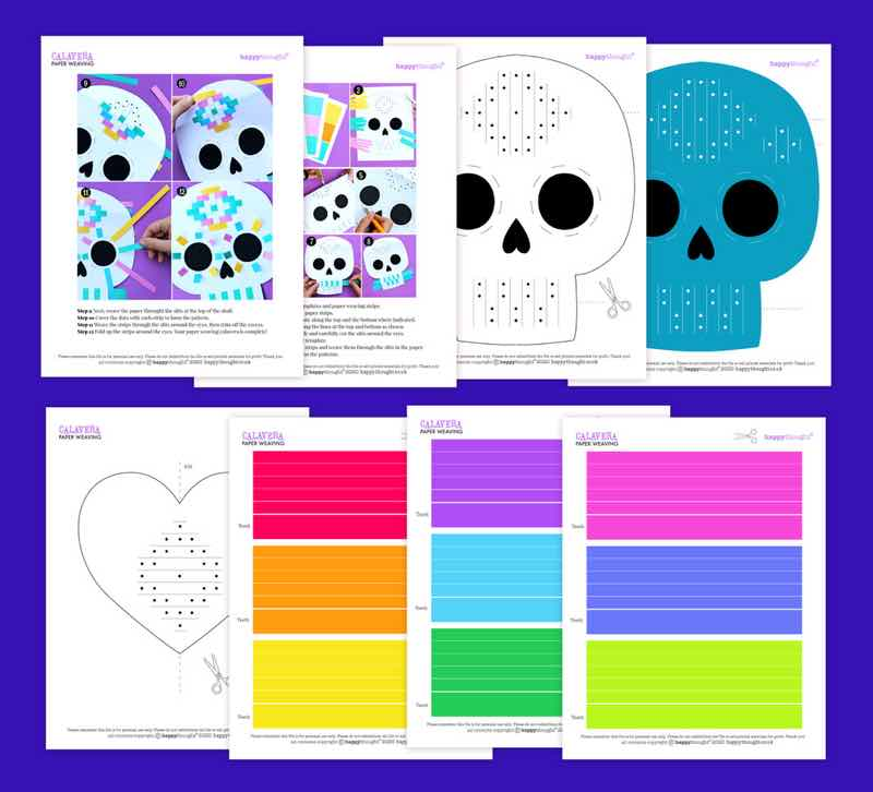 day of the dead paper-weaving-craft templates
