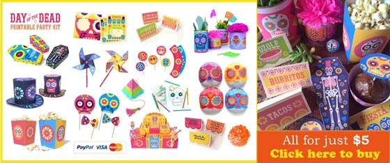 Day of the Dead or Dia de los Muertos fiesta ideas! Printables, crafts and tutorials!