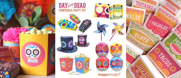 Ideas and inspiration for a Day of the Dead celebration. El Dia de los Muertos, Day of the Dead coffin printable papercraft templates for party favours and decorations!