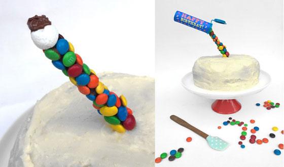 M&M tube anti gravity cake decorating idea!