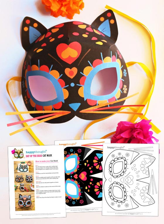 Day of the Dead cat calavera mask template: Dress up parties + have fun!
