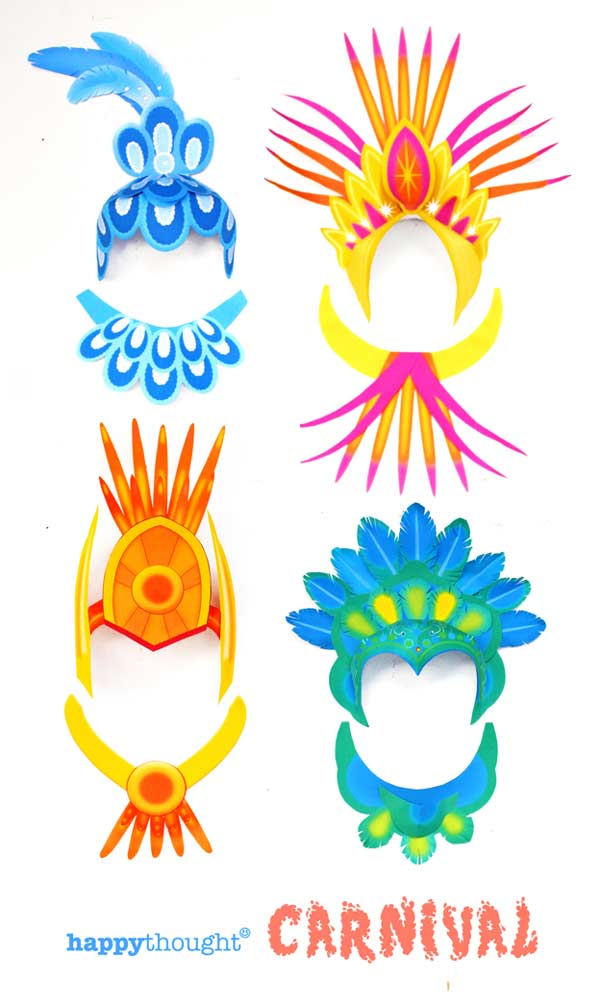 Fun school or home activity for Carnival! Make your own crowns and headpieces using easy templates.