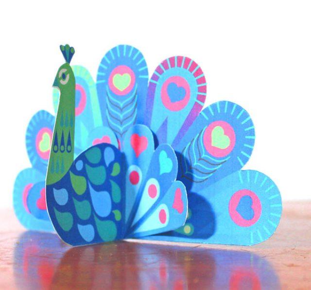 Pretty DIY paper peacocks template