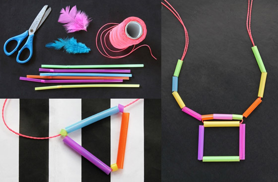 Springtime craft ideas: Quick and easy straw necklace DIY activity!