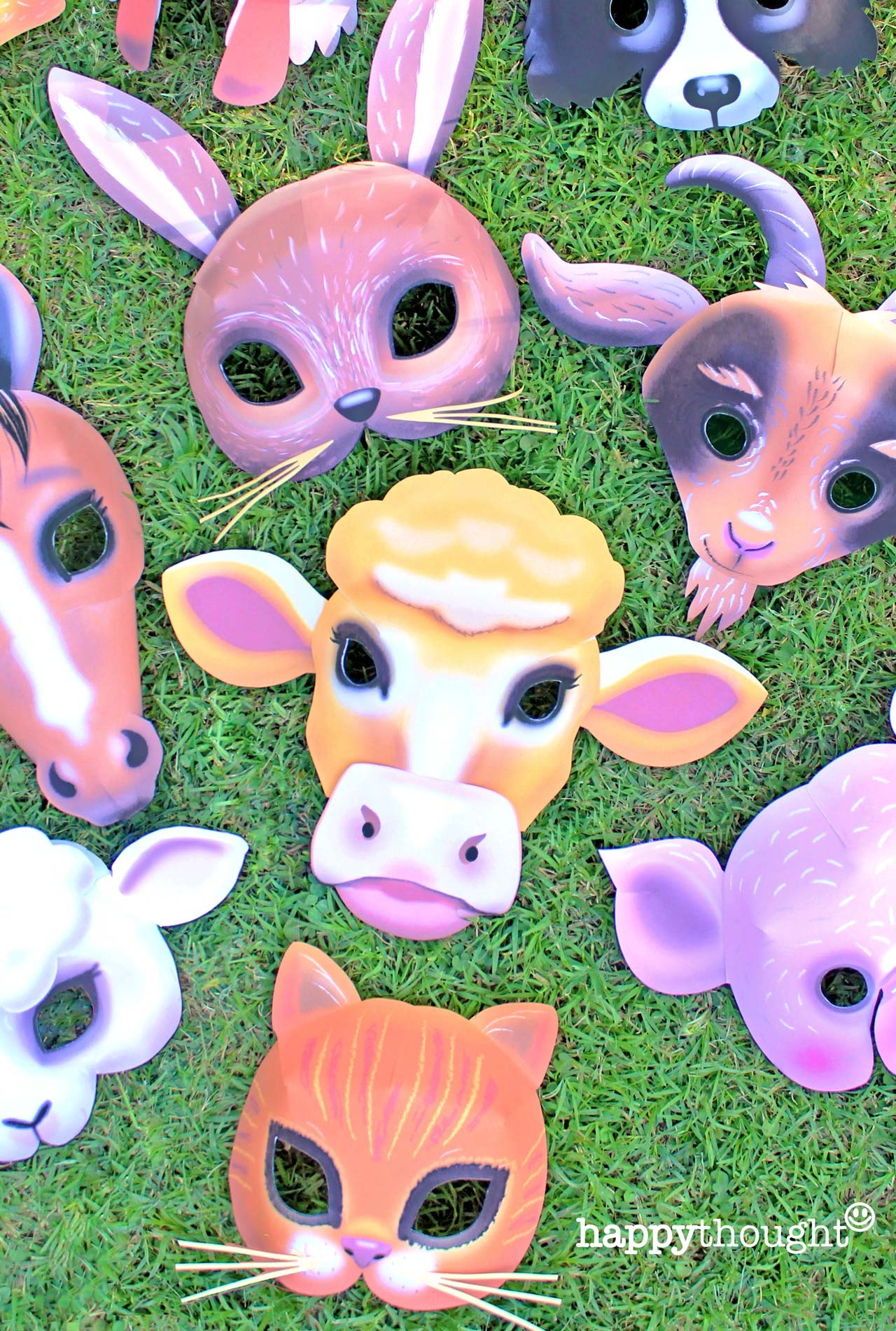 farm animal masks Rabbit, Rooster, Dog, Horse, Pig, Sheep, Cow, Duck, Cat and Goat