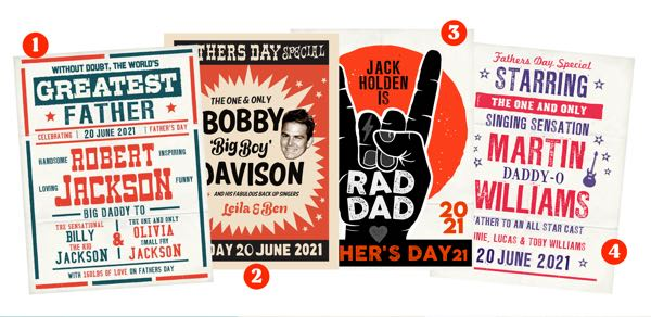 fathers day personalized posters for daddy