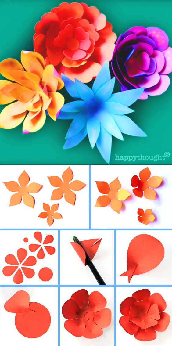 Paper flower template and tutorial