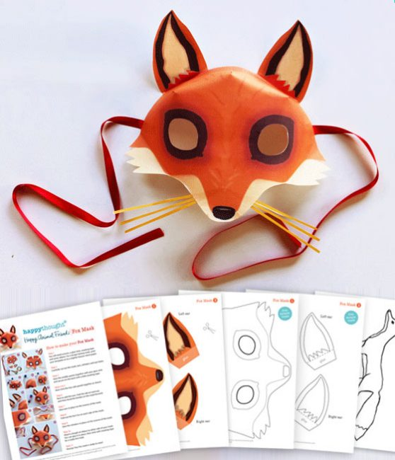 Fox mask template Printouts crafts to dress up parties easy – Free Mask Templates