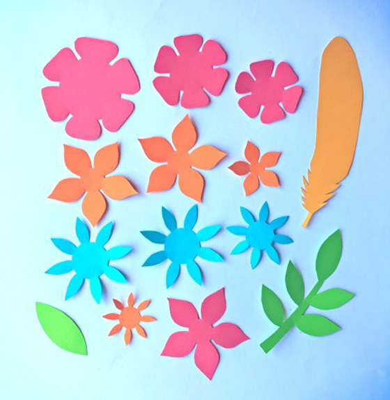 DIY paper flowers pattern, paper feathers pattern and paper leaf template!