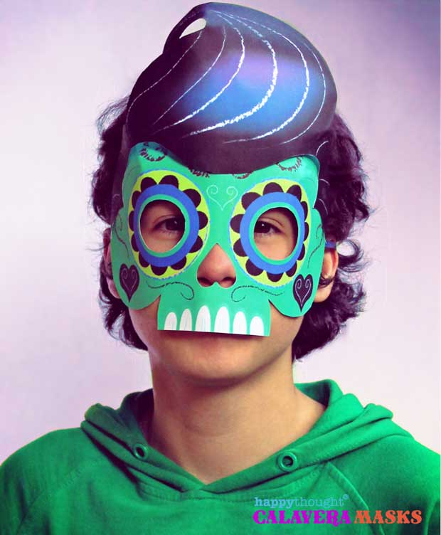 Green Elvis calavera mask for Day of the Dead costume ideas