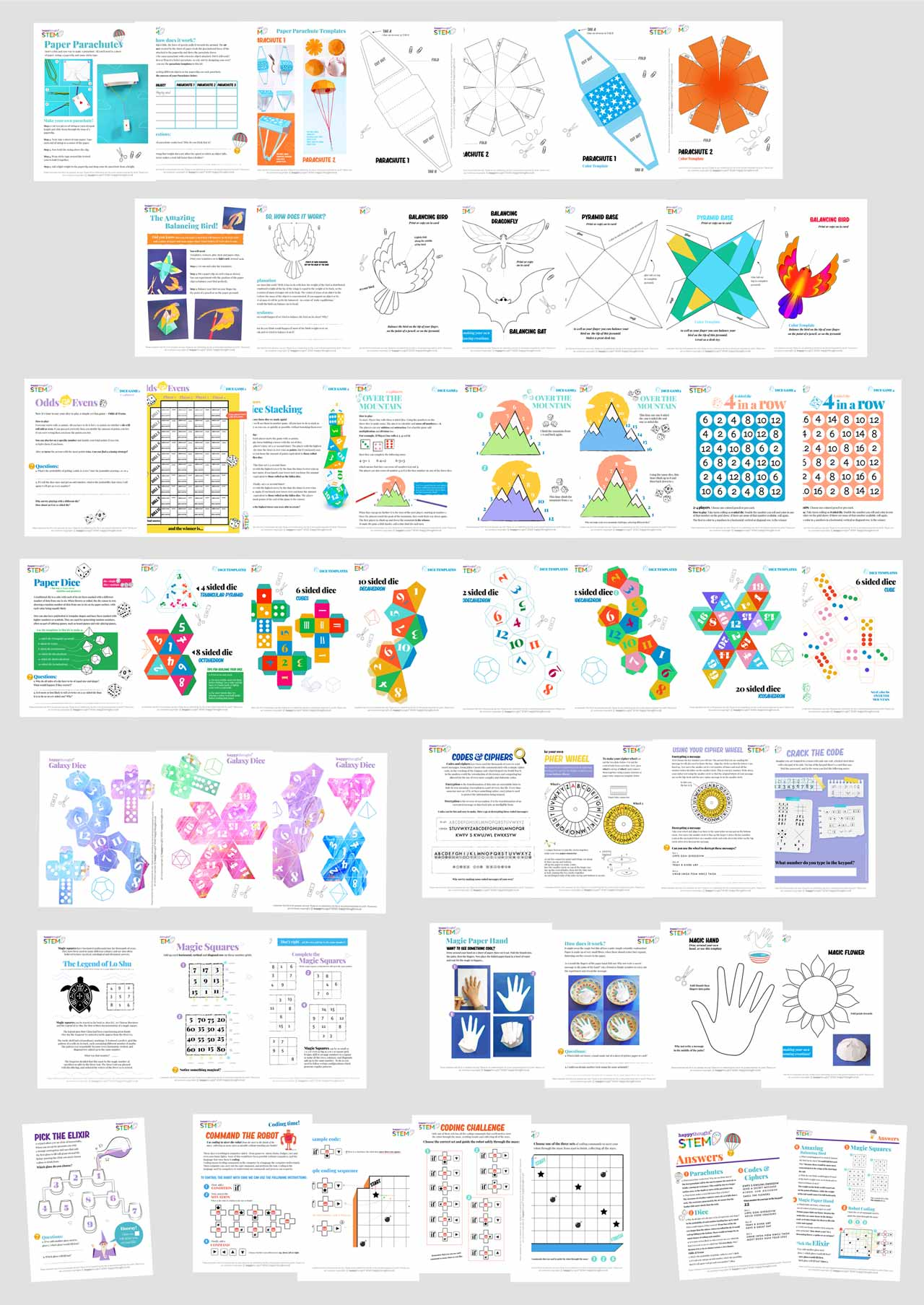 happythought STEM sheet projects PDF worksheets