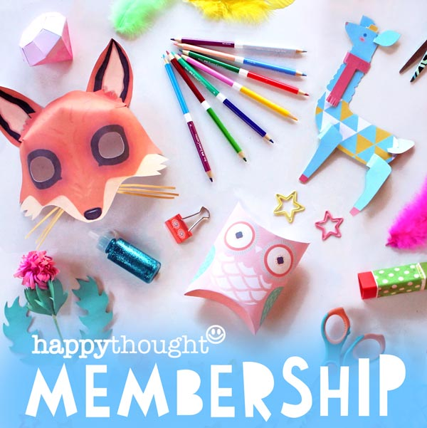 Happythought membership club for free printable templates and paper craft activities