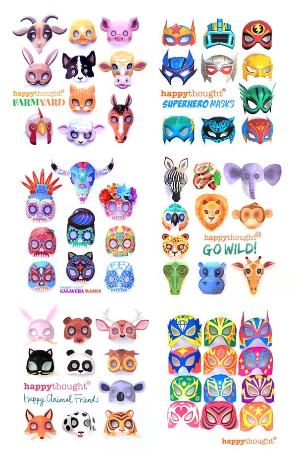 Happythought printable masks sets are affordable way to get easy dress up costumes