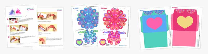 Valentine peacock bird printable templates and patterns
