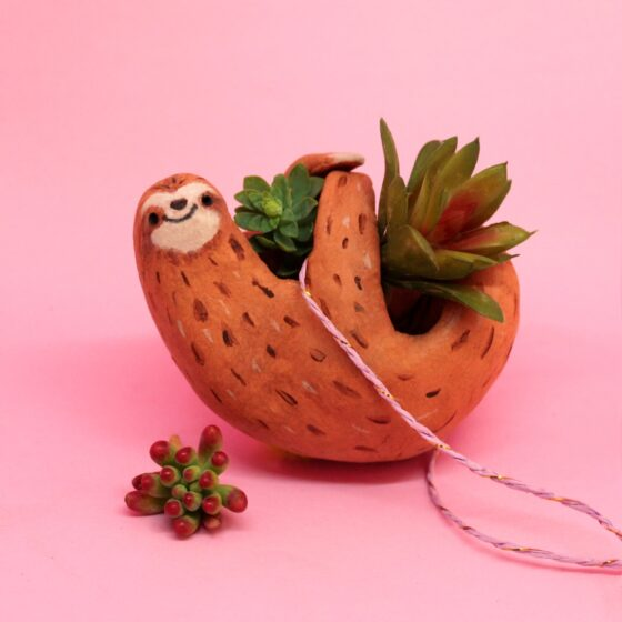 Bring nature into your house with this easy homemade sloth planter