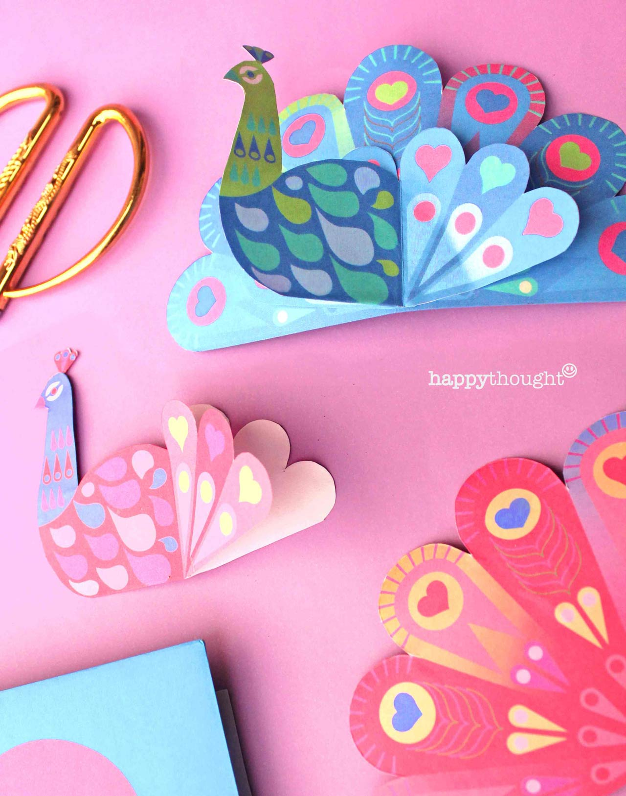How to make a paper peacock card and envelope for St Valentine's day